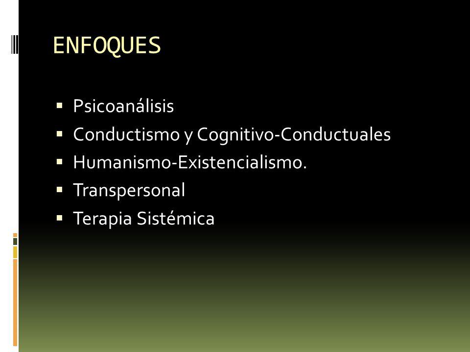 ENFOQUES Psicoanálisis Conductismo y Cognitivo-Conductuales Humanismo-Existencialismo. Transpersonal Terapia Sistémica