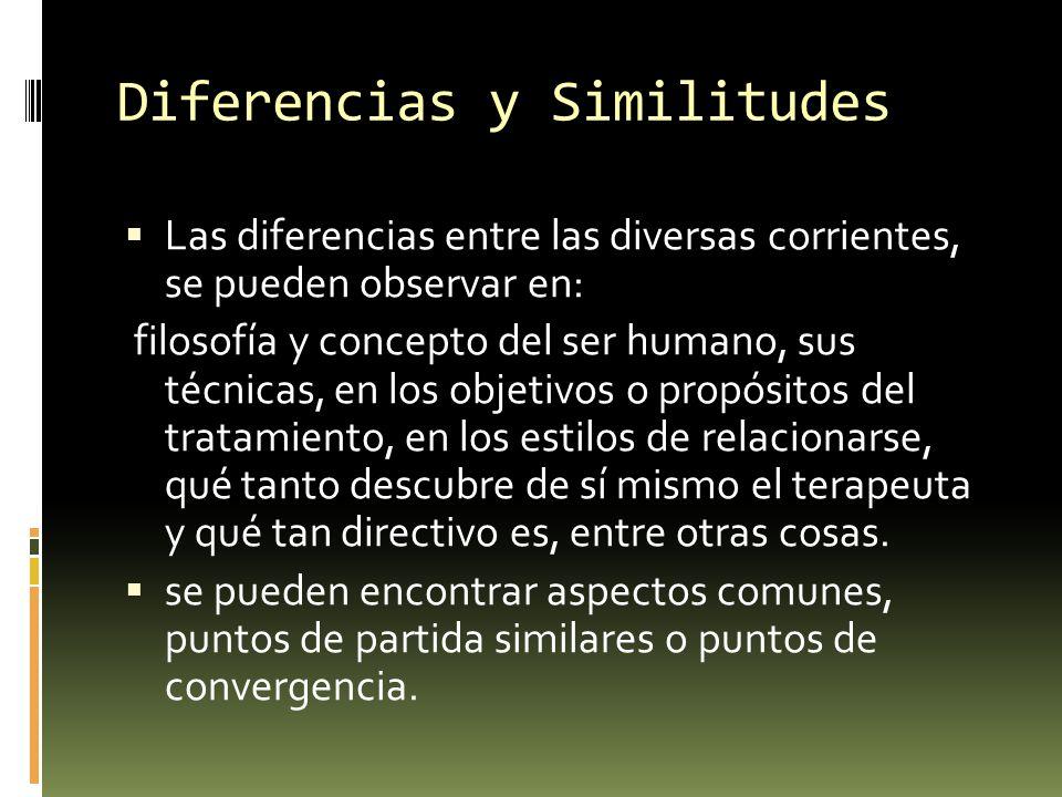 Diferencias y Similitudes Las diferencias entre las diversas corrientes, se pueden observar en: filosofía y concepto del ser humano, sus técnicas, en