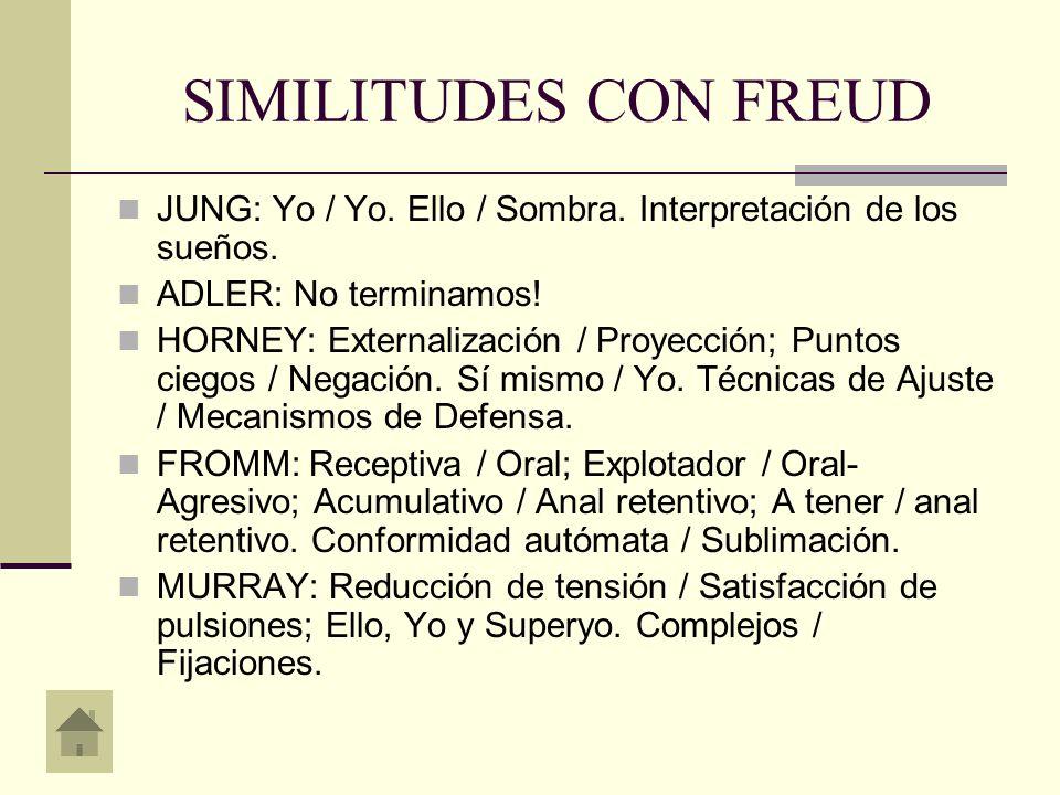 SIMILITUDES CON JUNG FREUD: Inconsciente / Inconsciente personal.