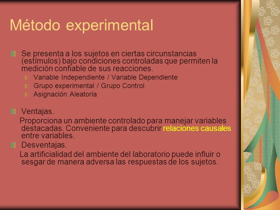 Método experimental Se presenta a los sujetos en ciertas circunstancias (estímulos) bajo condiciones controladas que permiten la medición confiable de