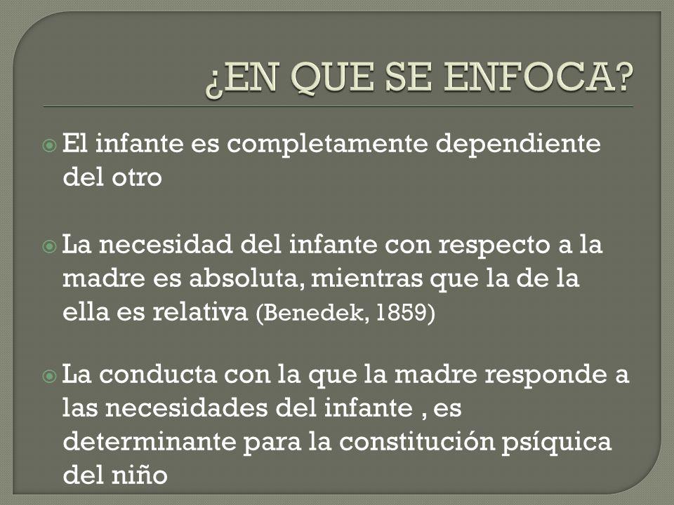 El infante es completamente dependiente del otro La necesidad del infante con respecto a la madre es absoluta, mientras que la de la ella es relativa
