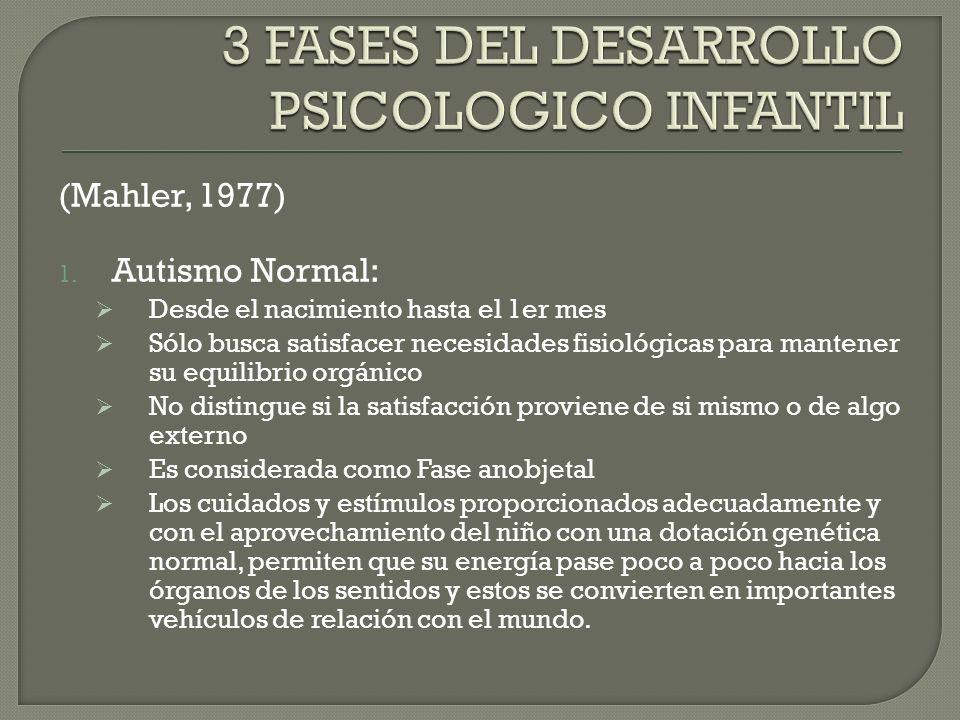 (Mahler, 1977) 1. Autismo Normal: Desde el nacimiento hasta el 1er mes Sólo busca satisfacer necesidades fisiológicas para mantener su equilibrio orgá