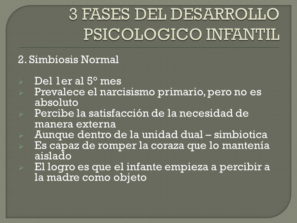 2. Simbiosis Normal Del 1er al 5° mes Prevalece el narcisismo primario, pero no es absoluto Percibe la satisfacción de la necesidad de manera externa