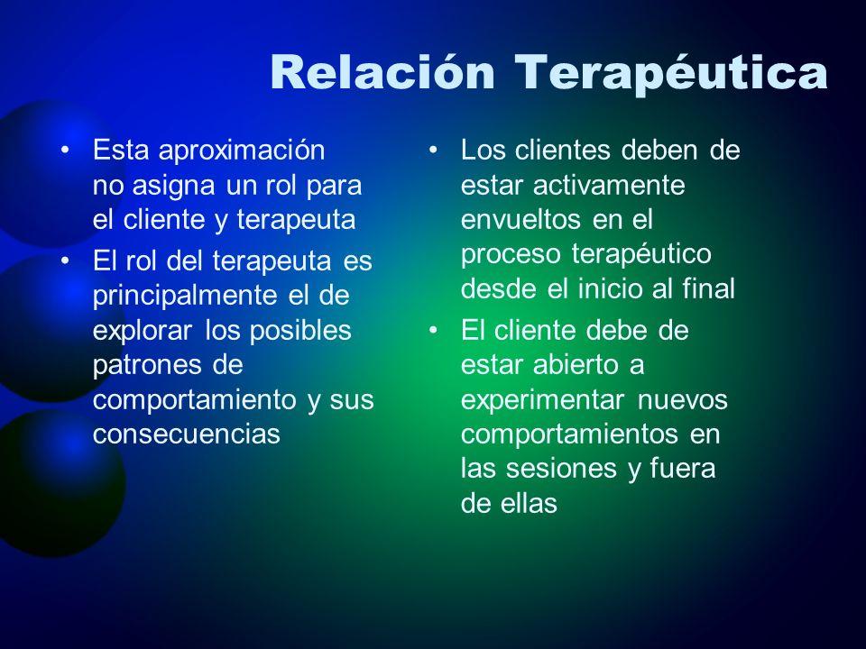 Relación Terapéutica Esta aproximación no asigna un rol para el cliente y terapeuta El rol del terapeuta es principalmente el de explorar los posibles