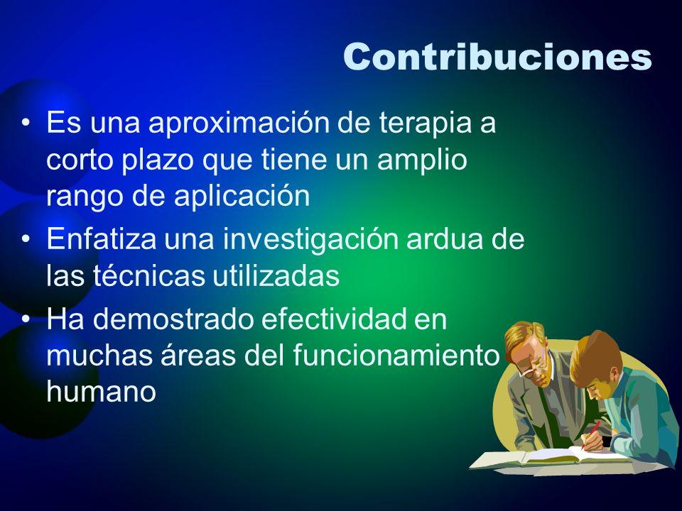 Contribuciones Es una aproximación de terapia a corto plazo que tiene un amplio rango de aplicación Enfatiza una investigación ardua de las técnicas u