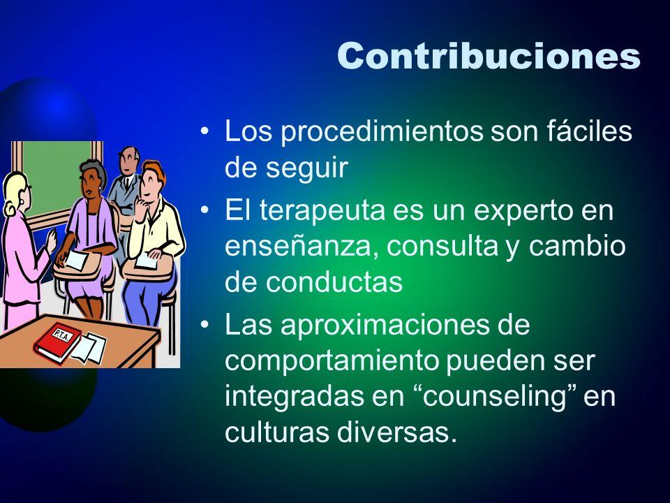 Contribuciones Los procedimientos son fáciles de seguir El terapeuta es un experto en enseñanza, consulta y cambio de conductas Las aproximaciones de