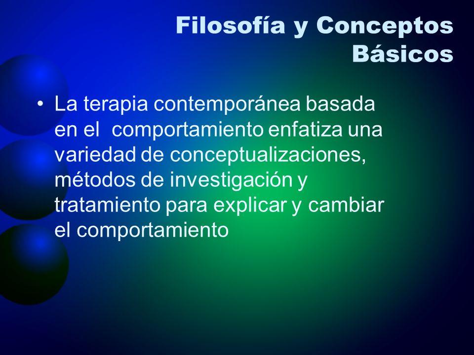 Filosofía y Conceptos Básicos La terapia contemporánea basada en el comportamiento enfatiza una variedad de conceptualizaciones, métodos de investigac