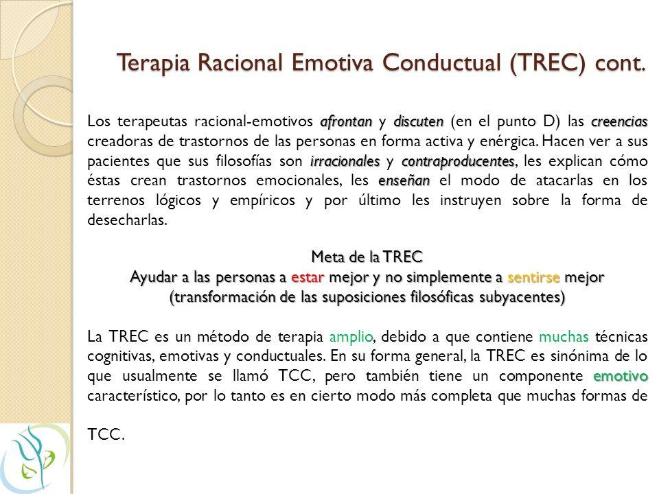 Terapia Racional Emotiva Conductual (TREC) TREC - Albert Ellis Suposición C - Consecuencias C Reacciones emocionales (C - Consecuencias) que proceden