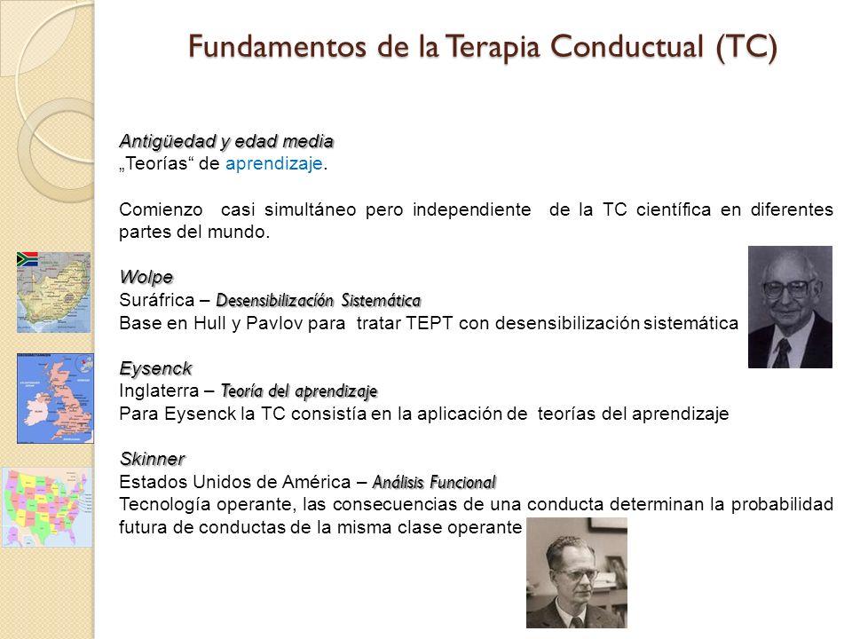 Fundamentos de la Terapia Conductual (TC) Antigüedad y edad media Teorías de aprendizaje.