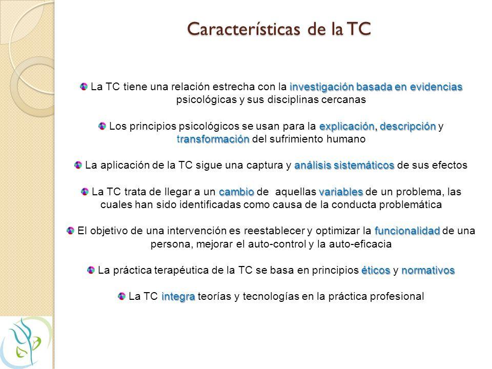 Características de la TC investigación basada en evidencias La TC tiene una relación estrecha con la investigación basada en evidencias psicológicas y sus disciplinas cercanas explicación, descripción ransformación Los principios psicológicos se usan para la explicación, descripción y transformación del sufrimiento humano análisis sistemáticos La aplicación de la TC sigue una captura y análisis sistemáticos de sus efectos cambio variables La TC trata de llegar a un cambio de aquellas variables de un problema, las cuales han sido identificadas como causa de la conducta problemática funcionalidad El objetivo de una intervención es reestablecer y optimizar la funcionalidad de una persona, mejorar el auto-control y la auto-eficacia éticos normativos La práctica terapéutica de la TC se basa en principios éticos y normativos integra La TC integra teorías y tecnologías en la práctica profesional