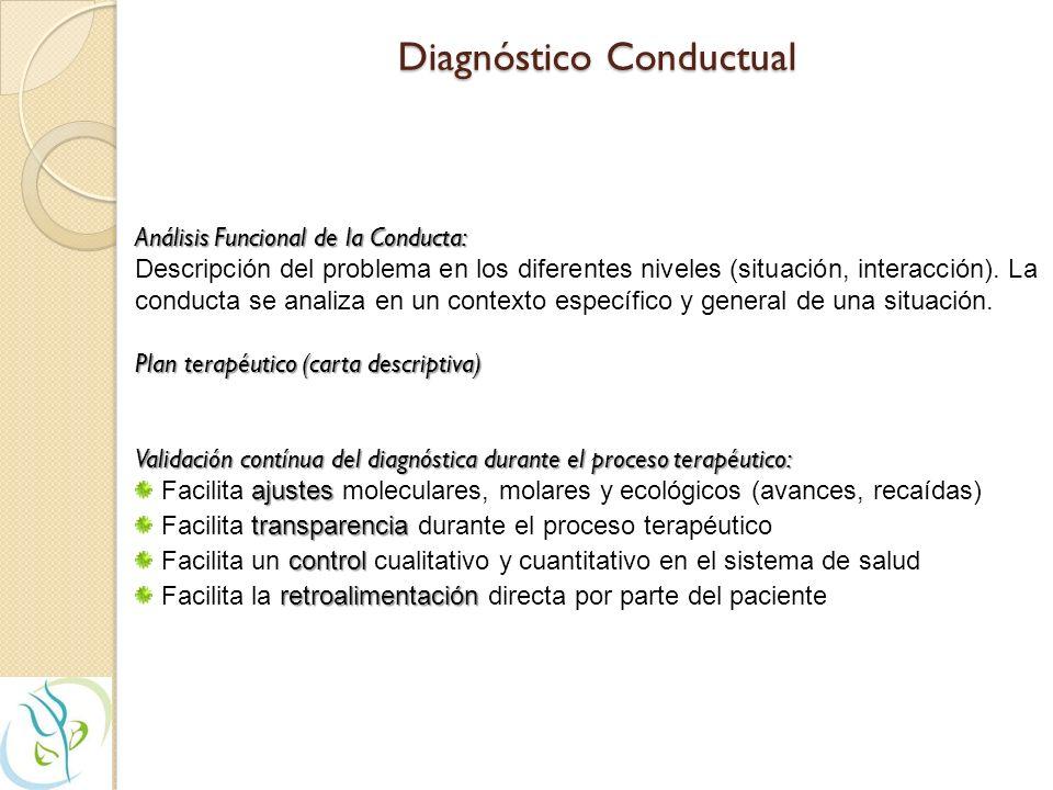 Diagnóstico Conductual Análisis Funcional de la Conducta: Descripción del problema en los diferentes niveles (situación, interacción).