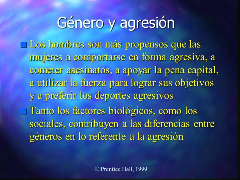 Género y agresión n Los hombres son más propensos que las mujeres a comportarse en forma agresiva, a cometer asesinatos, a apoyar la pena capital, a u