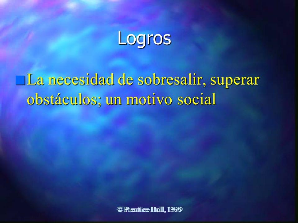 Logros n La necesidad de sobresalir, superar obstáculos; un motivo social © Prentice Hall, 1999