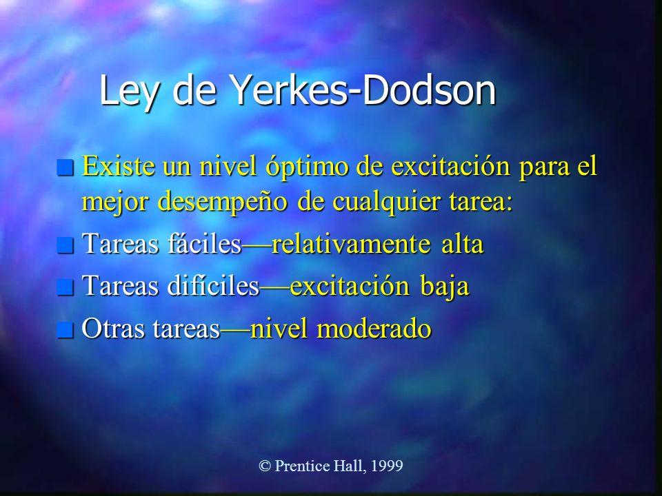 © Prentice Hall, 1999 Ley de Yerkes-Dodson n Existe un nivel óptimo de excitación para el mejor desempeño de cualquier tarea: n Tareas fácilesrelativa