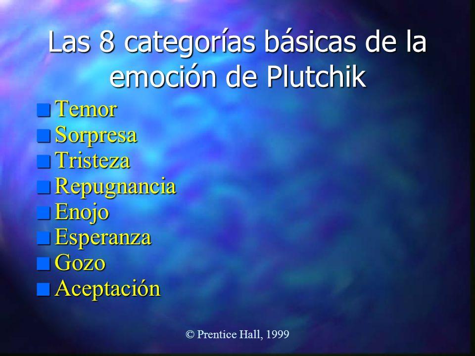 © Prentice Hall, 1999 Las 8 categorías básicas de la emoción de Plutchik n Temor n Sorpresa n Tristeza n Repugnancia n Enojo n Esperanza n Gozo n Acep