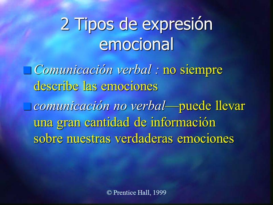 © Prentice Hall, 1999 2 Tipos de expresión emocional n Comunicación verbal : no siempre describe las emociones n comunicación no verbalpuede llevar un