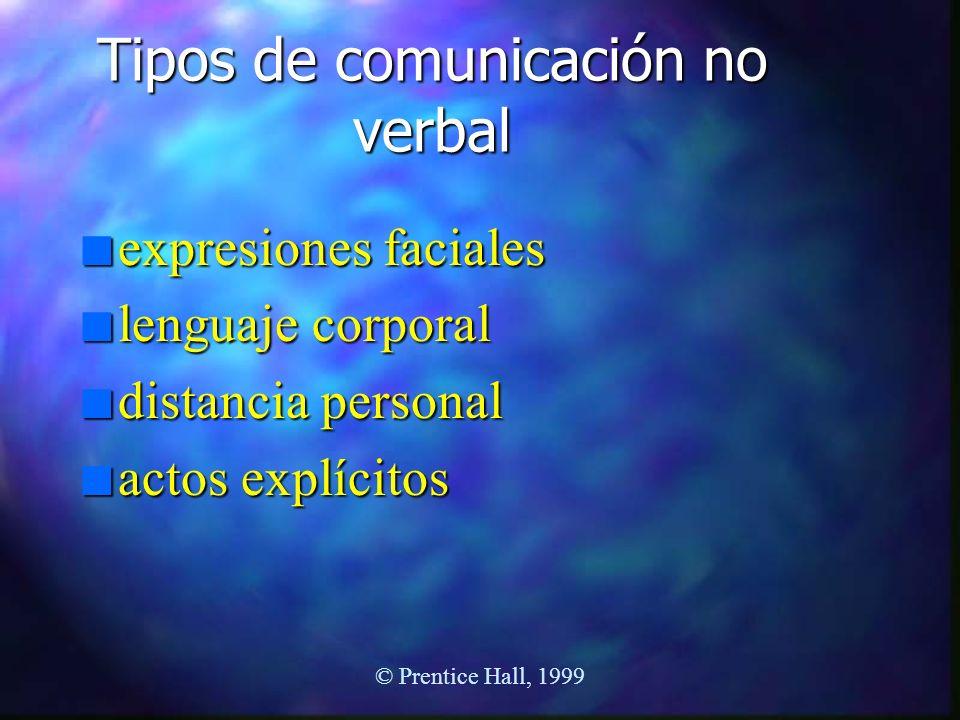© Prentice Hall, 1999 Tipos de comunicación no verbal n expresiones faciales n lenguaje corporal n distancia personal n actos explícitos