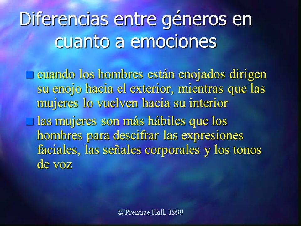 © Prentice Hall, 1999 Diferencias entre géneros en cuanto a emociones n cuando los hombres están enojados dirigen su enojo hacia el exterior, mientras