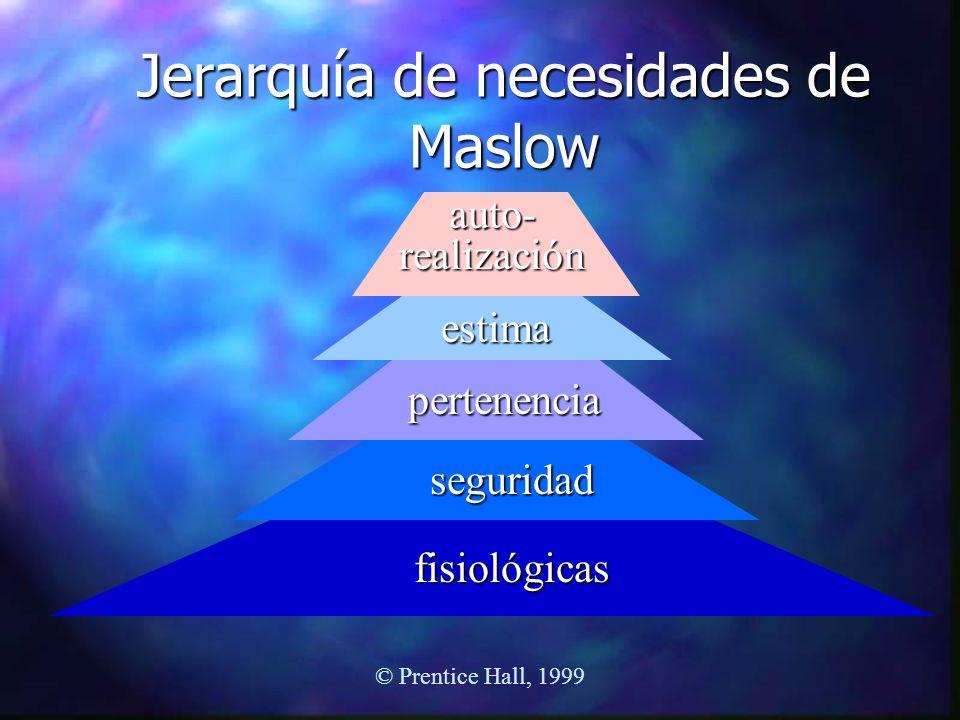 © Prentice Hall, 1999 Jerarquía de necesidades de Maslow fisiológicas seguridad pertenencia estima auto- realización