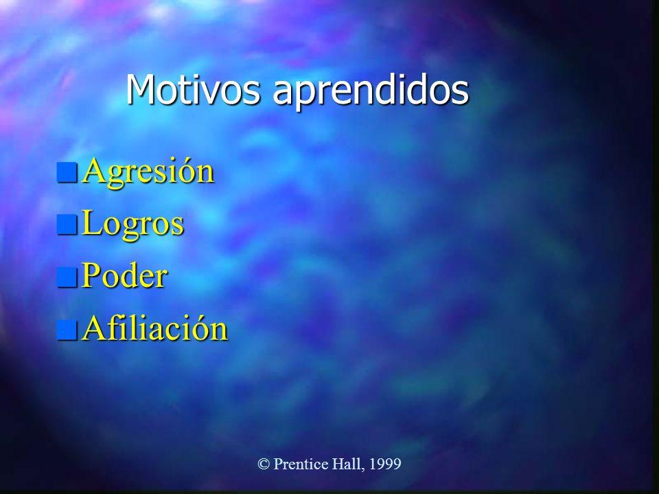 Motivos aprendidos n Agresión n Logros n Poder n Afiliación