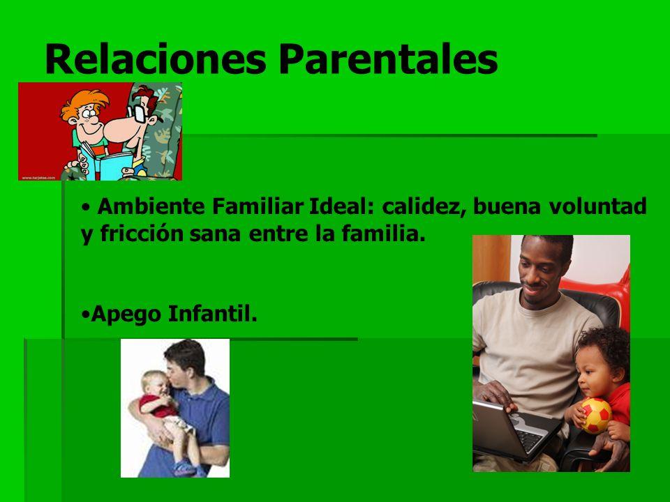 Relaciones Parentales Ambiente Familiar Ideal: calidez, buena voluntad y fricción sana entre la familia. Apego Infantil.