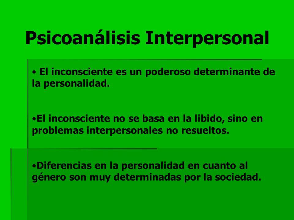 Psicoanálisis Interpersonal El inconsciente es un poderoso determinante de la personalidad. El inconsciente no se basa en la libido, sino en problemas