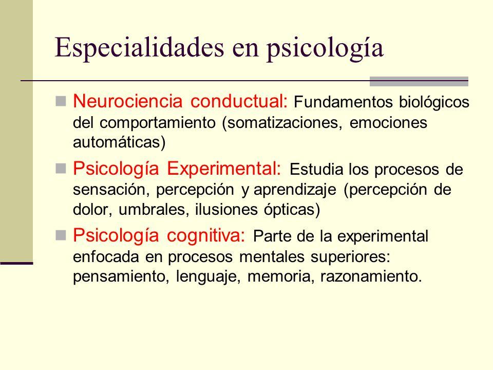 Especialidades en psicología Neurociencia conductual: Fundamentos biológicos del comportamiento (somatizaciones, emociones automáticas) Psicología Exp