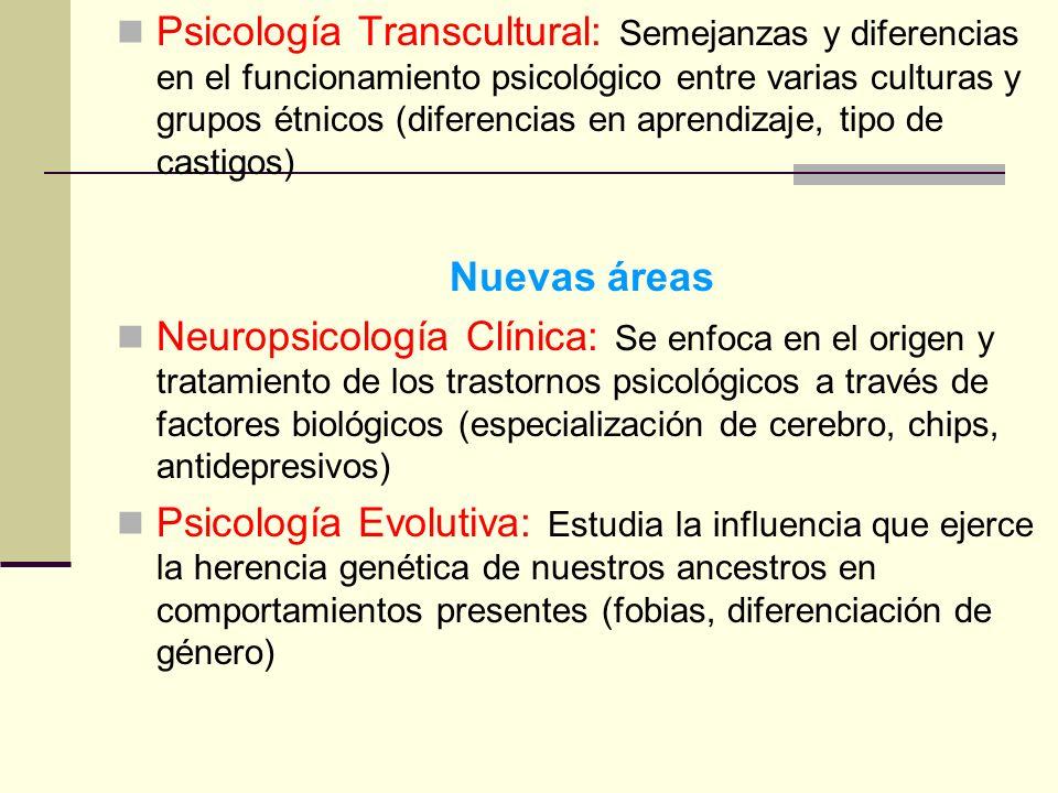 Psicología Transcultural: Semejanzas y diferencias en el funcionamiento psicológico entre varias culturas y grupos étnicos (diferencias en aprendizaje
