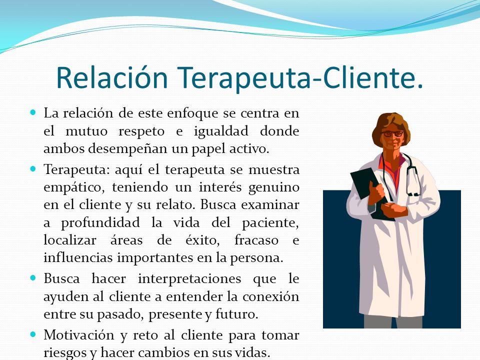 Relación Terapeuta-Cliente. La relación de este enfoque se centra en el mutuo respeto e igualdad donde ambos desempeñan un papel activo. Terapeuta: aq