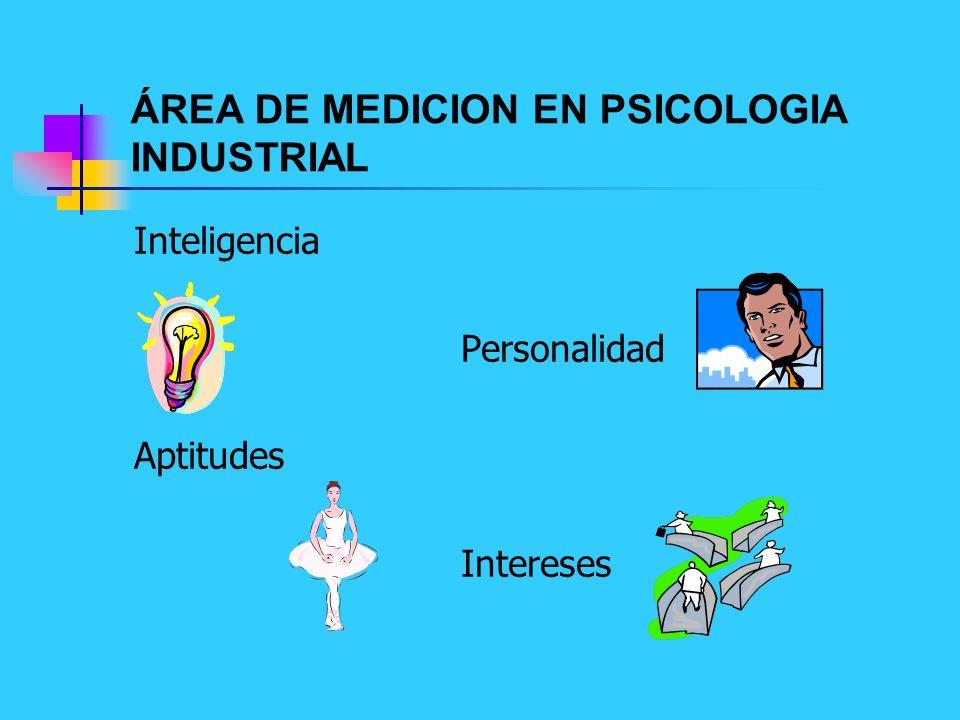 ÁREA DE MEDICION EN PSICOLOGIA INDUSTRIAL Inteligencia Personalidad Aptitudes Intereses