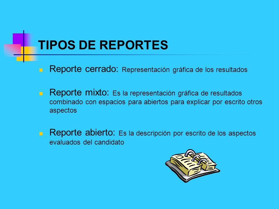 TIPOS DE REPORTES Reporte cerrado: Representación gráfica de los resultados Reporte mixto: Es la representación gráfica de resultados combinado con es