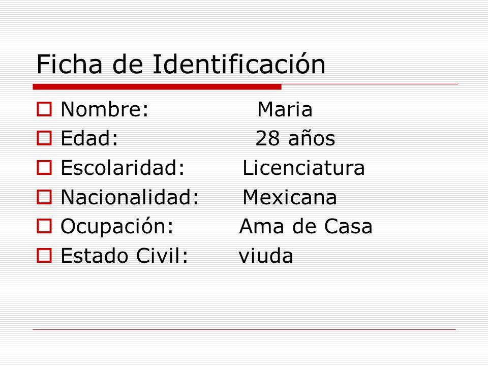 Ficha de Identificación Nombre: Maria Edad: 28 años Escolaridad: Licenciatura Nacionalidad: Mexicana Ocupación: Ama de Casa Estado Civil: viuda