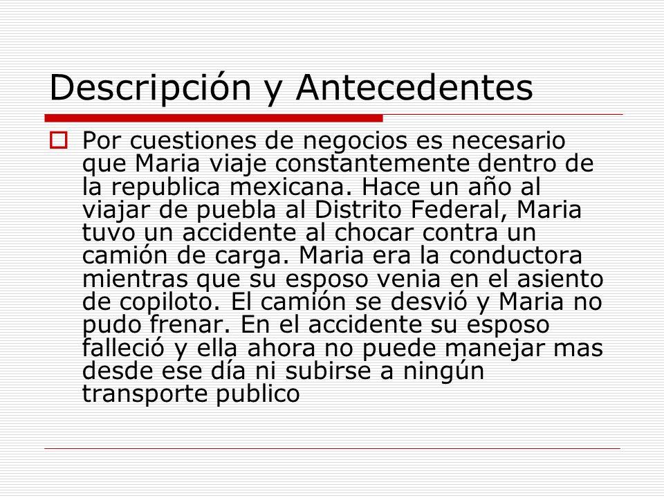 Descripción y Antecedentes Por cuestiones de negocios es necesario que Maria viaje constantemente dentro de la republica mexicana. Hace un año al viaj