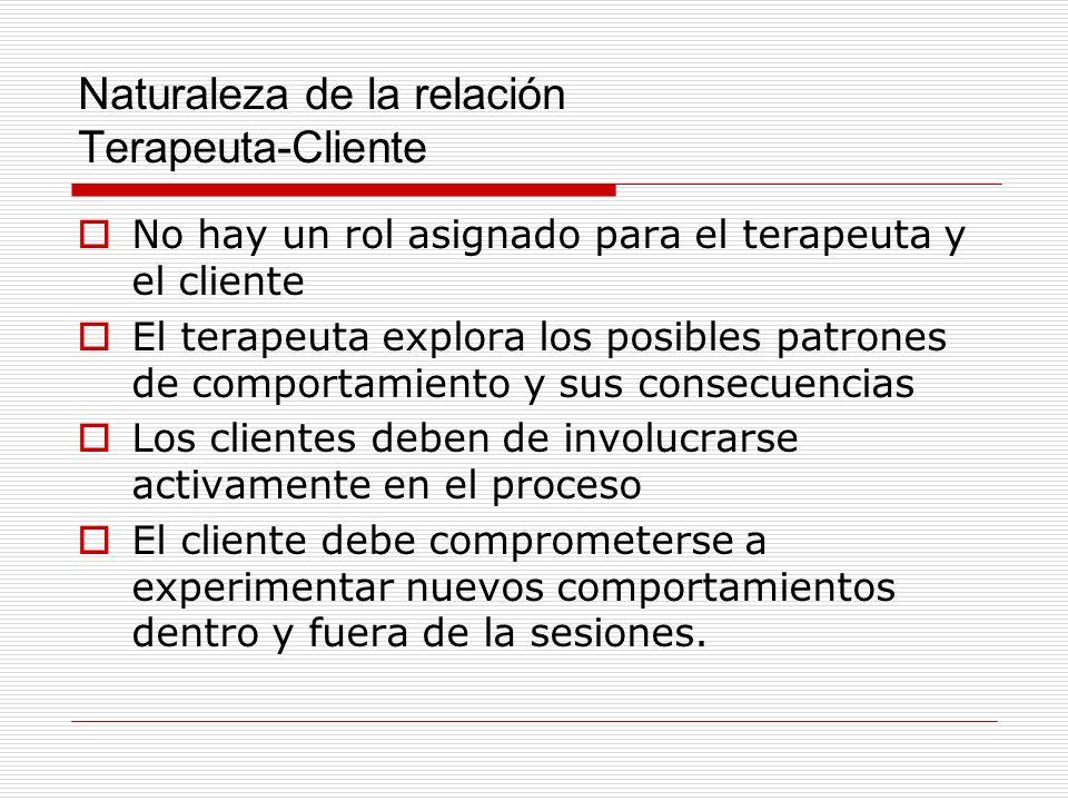 Naturaleza de la relación Terapeuta-Cliente No hay un rol asignado para el terapeuta y el cliente El terapeuta explora los posibles patrones de compor