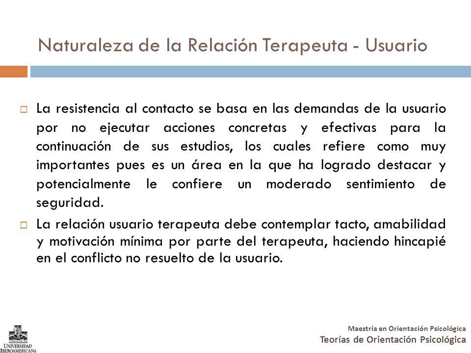 Maestría en Orientación Psicológica Teorías de Orientación Psicológica Naturaleza de la Relación Terapeuta - Usuario La resistencia al contacto se bas