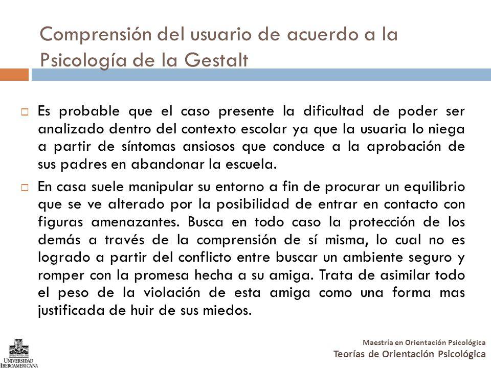 Maestría en Orientación Psicológica Teorías de Orientación Psicológica Comprensión del usuario de acuerdo a la Psicología de la Gestalt Es probable qu