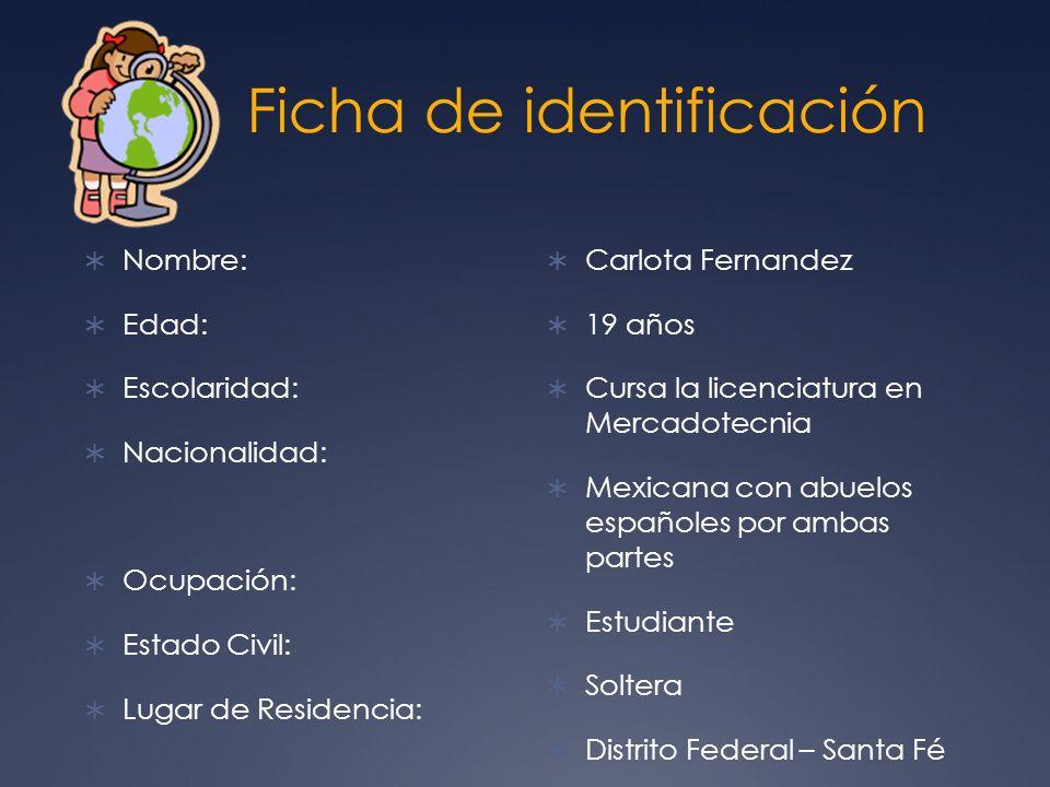 Ficha de identificación Nombre: Edad: Escolaridad: Nacionalidad: Ocupación: Estado Civil: Lugar de Residencia: Carlota Fernandez 19 años Cursa la lice