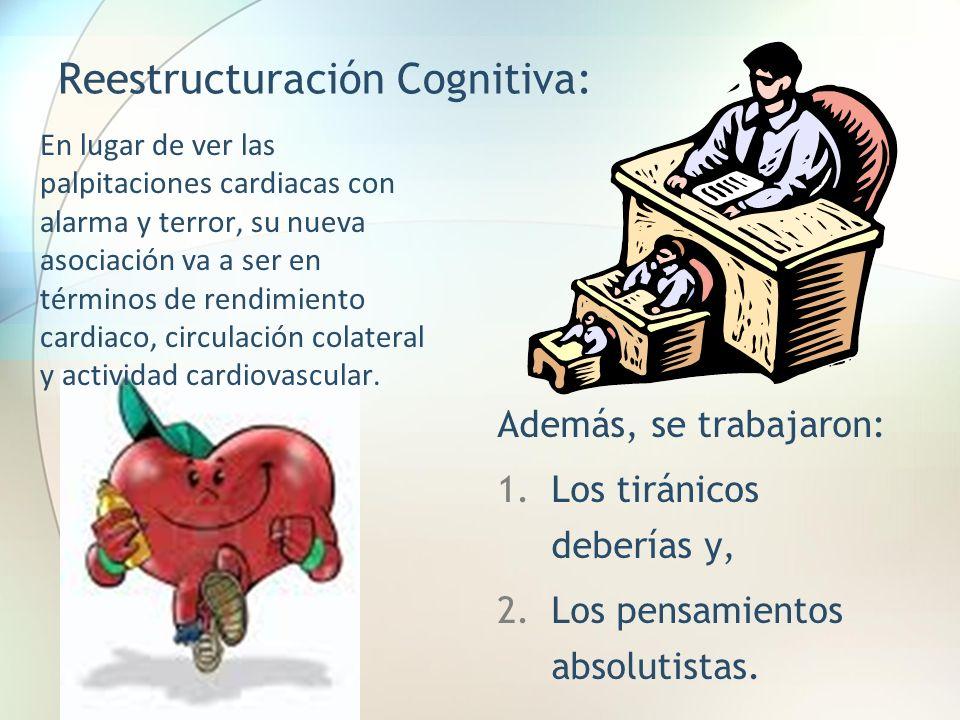 Reestructuración Cognitiva: En lugar de ver las palpitaciones cardiacas con alarma y terror, su nueva asociación va a ser en términos de rendimiento c