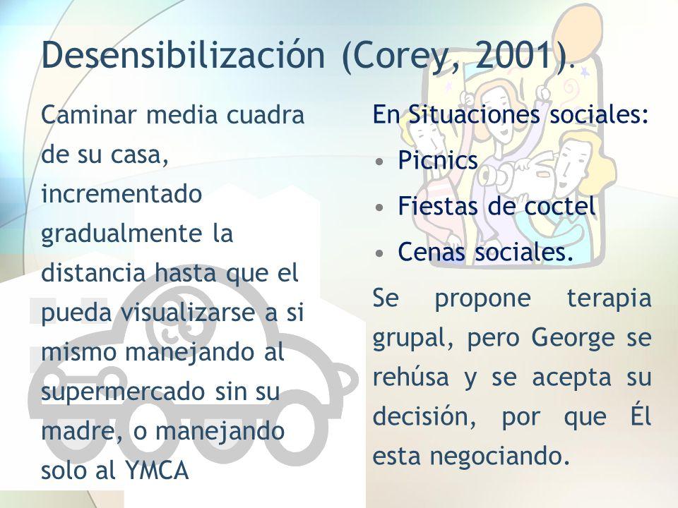Desensibilización (Corey, 2001). Caminar media cuadra de su casa, incrementado gradualmente la distancia hasta que el pueda visualizarse a si mismo ma
