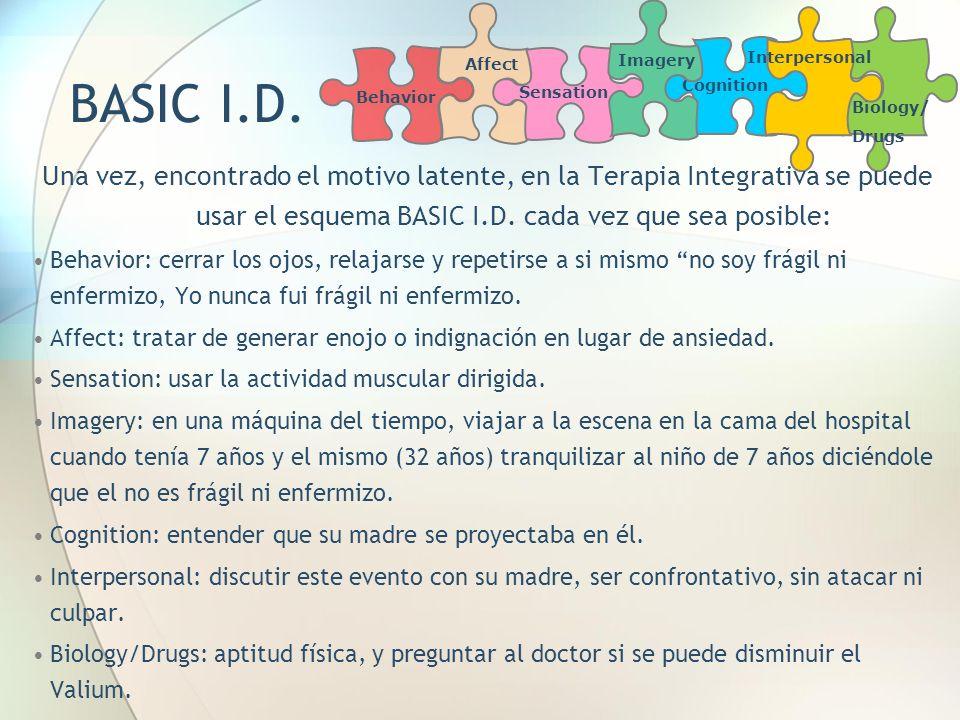 Cognition Biology/ Drugs Interpersonal Affect Sensation Imagery Behavior Una vez, encontrado el motivo latente, en la Terapia Integrativa se puede usa