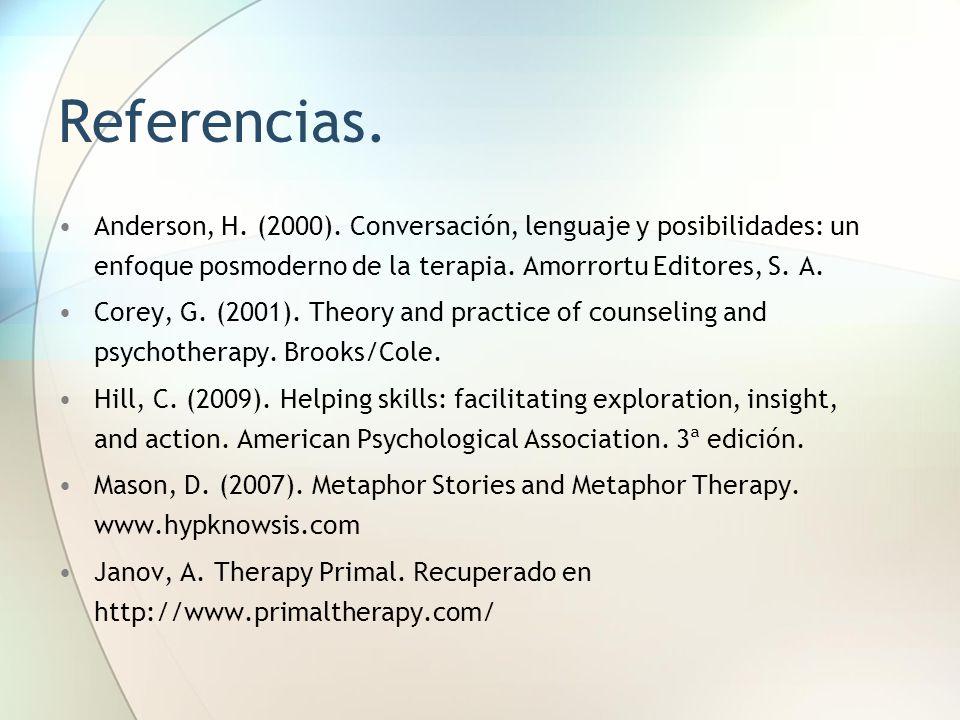 Referencias. Anderson, H. (2000). Conversación, lenguaje y posibilidades: un enfoque posmoderno de la terapia. Amorrortu Editores, S. A. Corey, G. (20