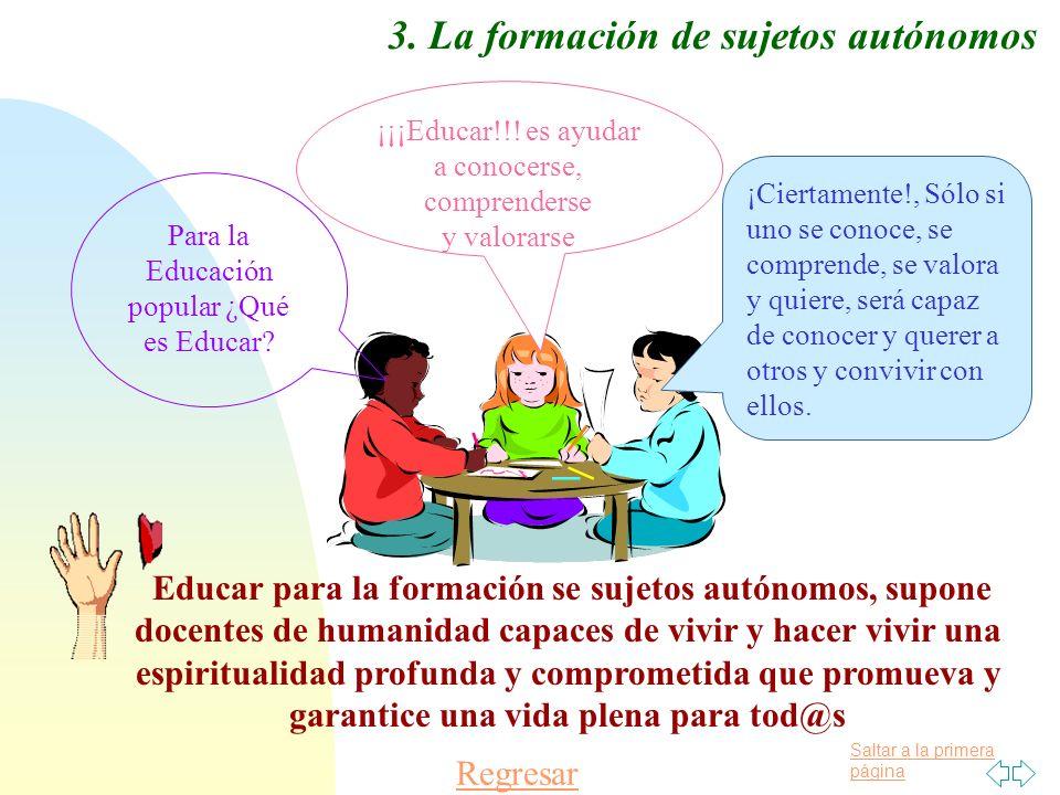 Saltar a la primera página Regresar 3. La formación de sujetos autónomos Para la Educación popular ¿Qué es Educar? ¡¡¡Educar!!! es ayudar a conocerse,