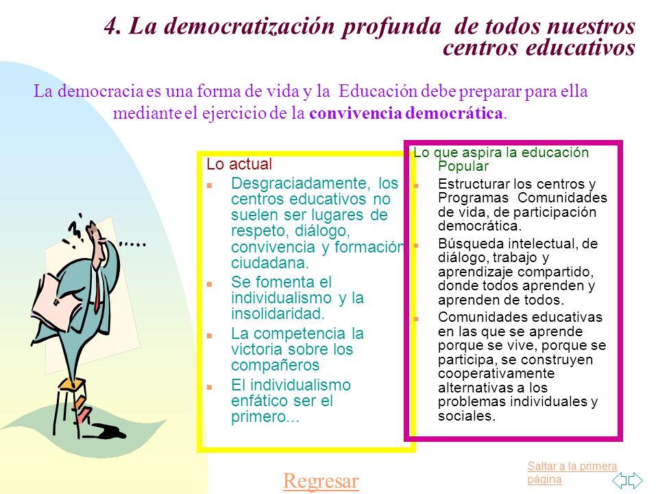 Saltar a la primera página 4. La democratización profunda de todos nuestros centros educativos Lo actual n Desgraciadamente, los centros educativos no