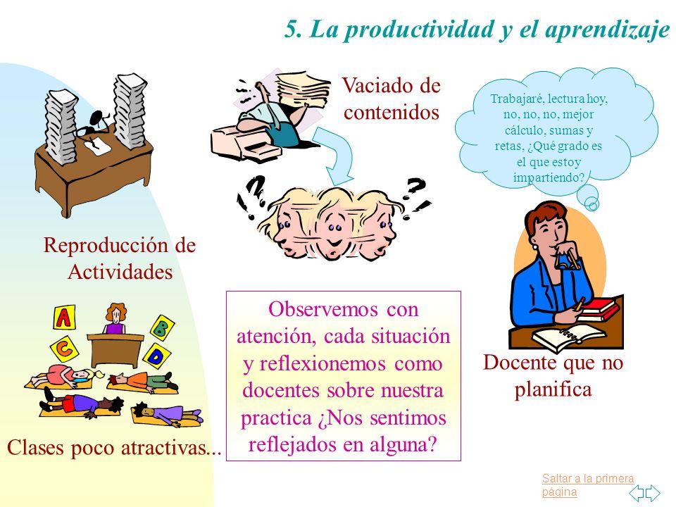 Saltar a la primera página 5. La productividad y el aprendizaje Reproducción de Actividades Vaciado de contenidos Trabajaré, lectura hoy, no, no, no,