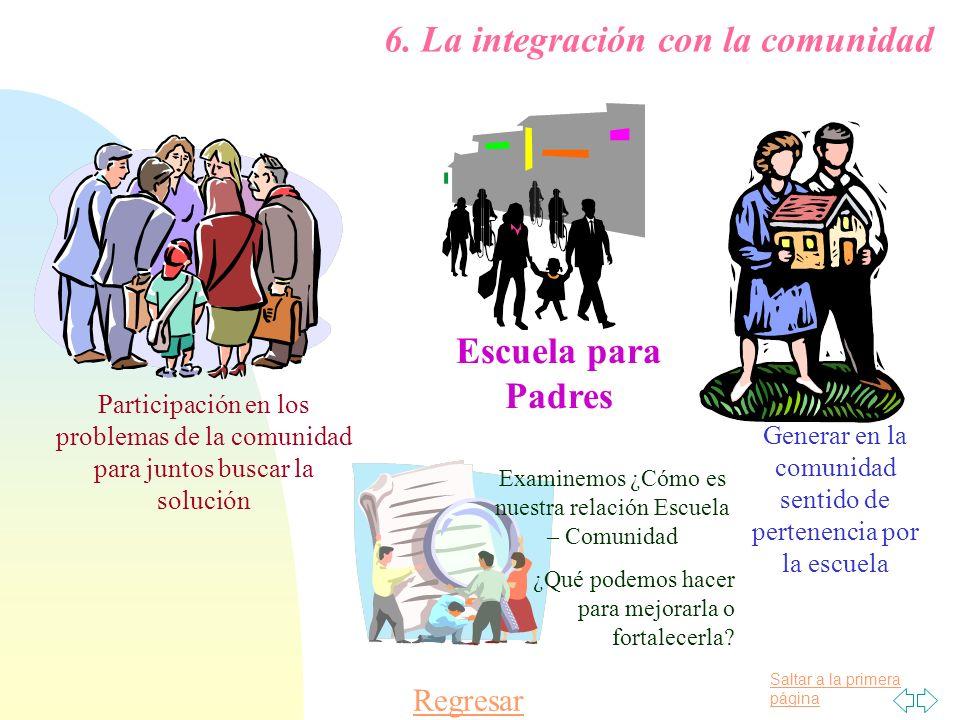 Saltar a la primera página 6. La integración con la comunidad Participación en los problemas de la comunidad para juntos buscar la solución Escuela pa