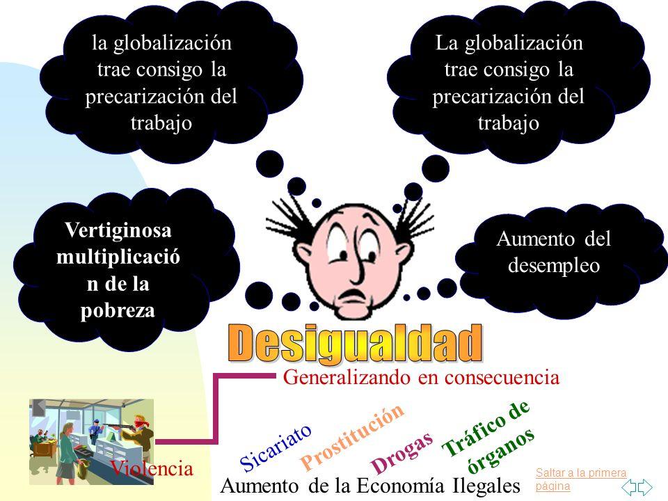 Saltar a la primera página La globalización trae consigo la precarización del trabajo Aumento del desempleo la globalización trae consigo la precariza