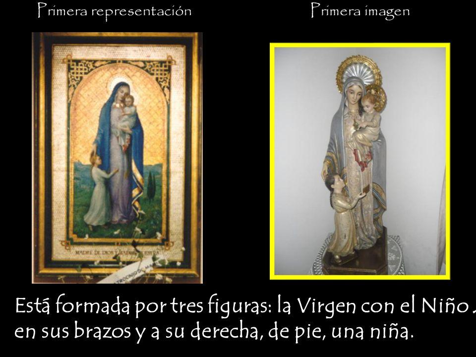Primera imagenPrimera representación Está formada por tres figuras: la Virgen con el Niño Jesús en sus brazos y a su derecha, de pie, una niña.