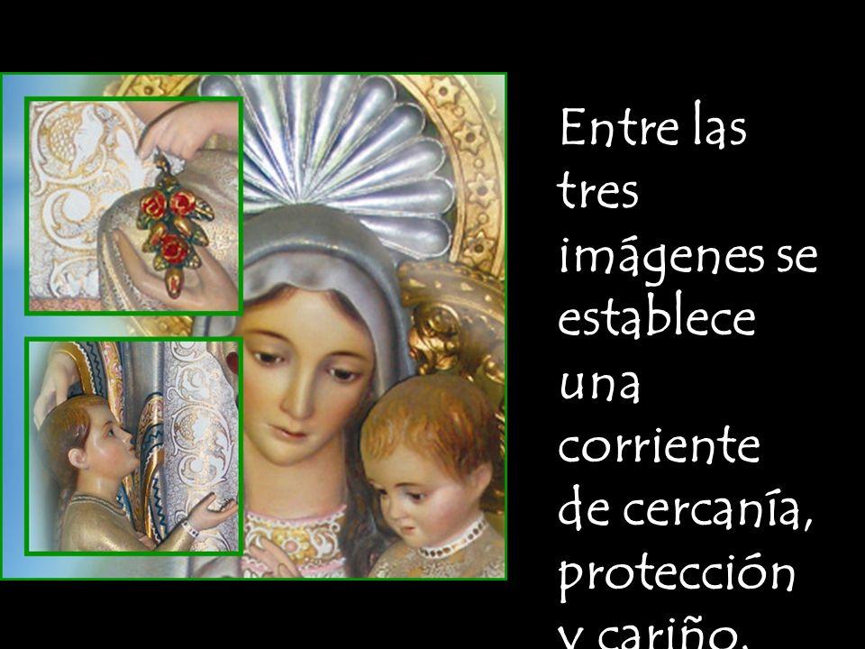 Tanto María como el Niño Jesús están mirand o a la niña.