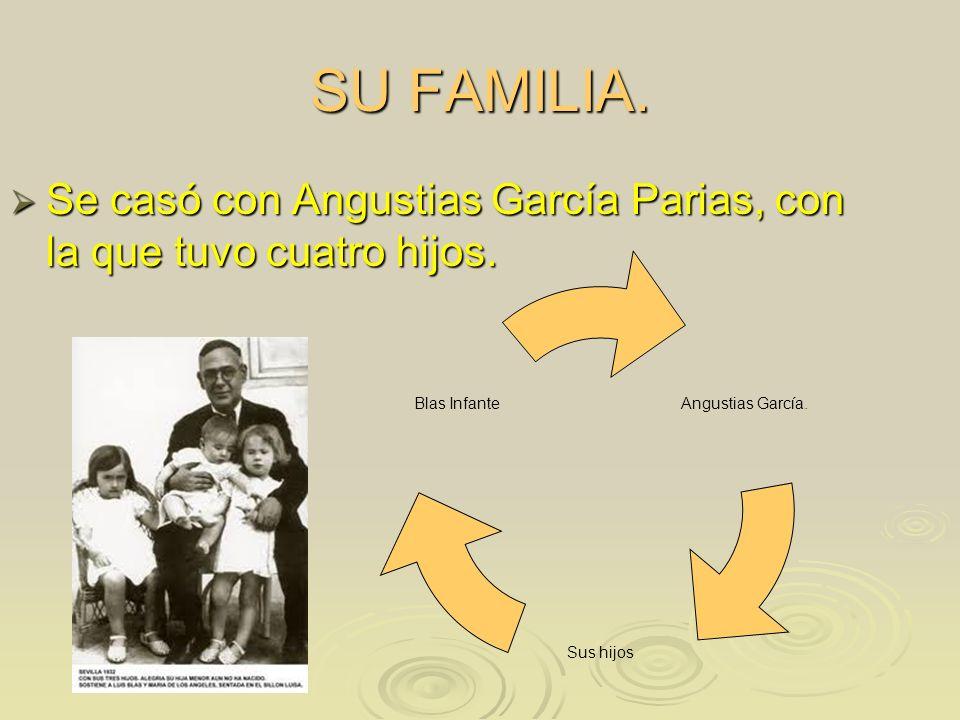 SU FAMILIA. Se casó con Angustias García Parias, con la que tuvo cuatro hijos. Se casó con Angustias García Parias, con la que tuvo cuatro hijos. Angu