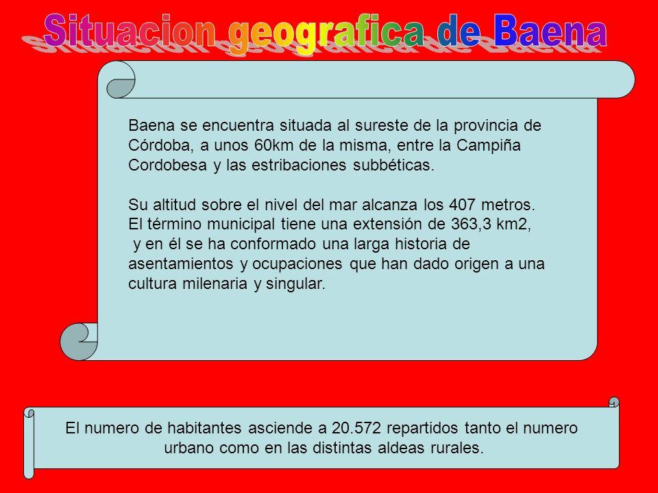 Baena se encuentra situada al sureste de la provincia de Córdoba, a unos 60km de la misma, entre la Campiña Cordobesa y las estribaciones subbéticas.